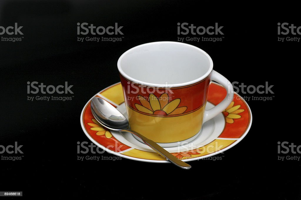 Coffee cup isolated on black stock photo