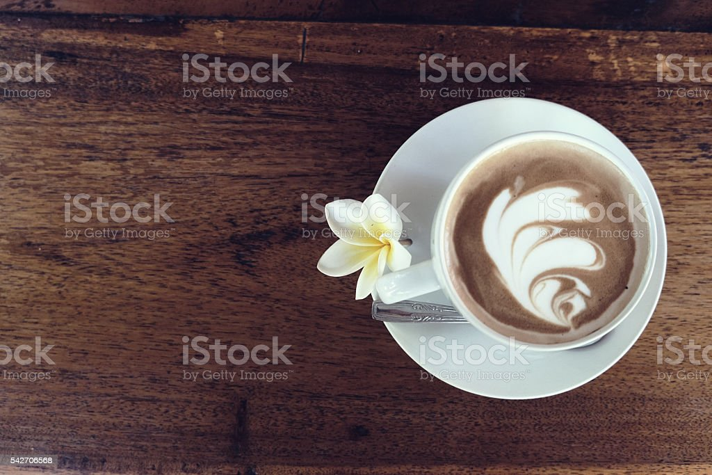 Coffee cup on a table stock photo