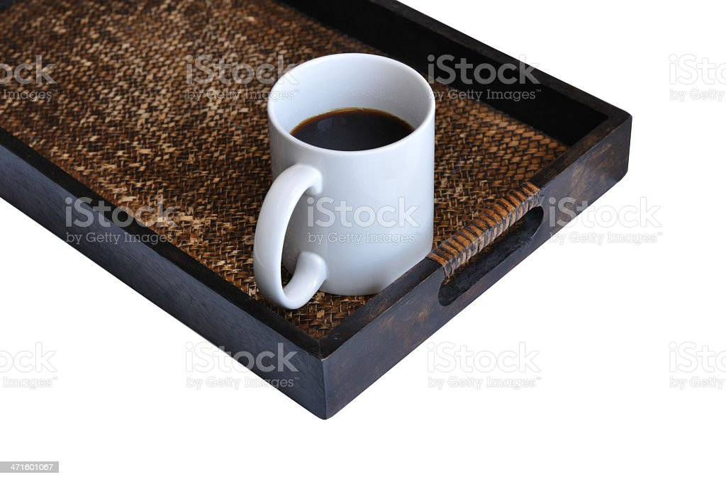 Coffee cup on bamboo texture tray royalty-free stock photo