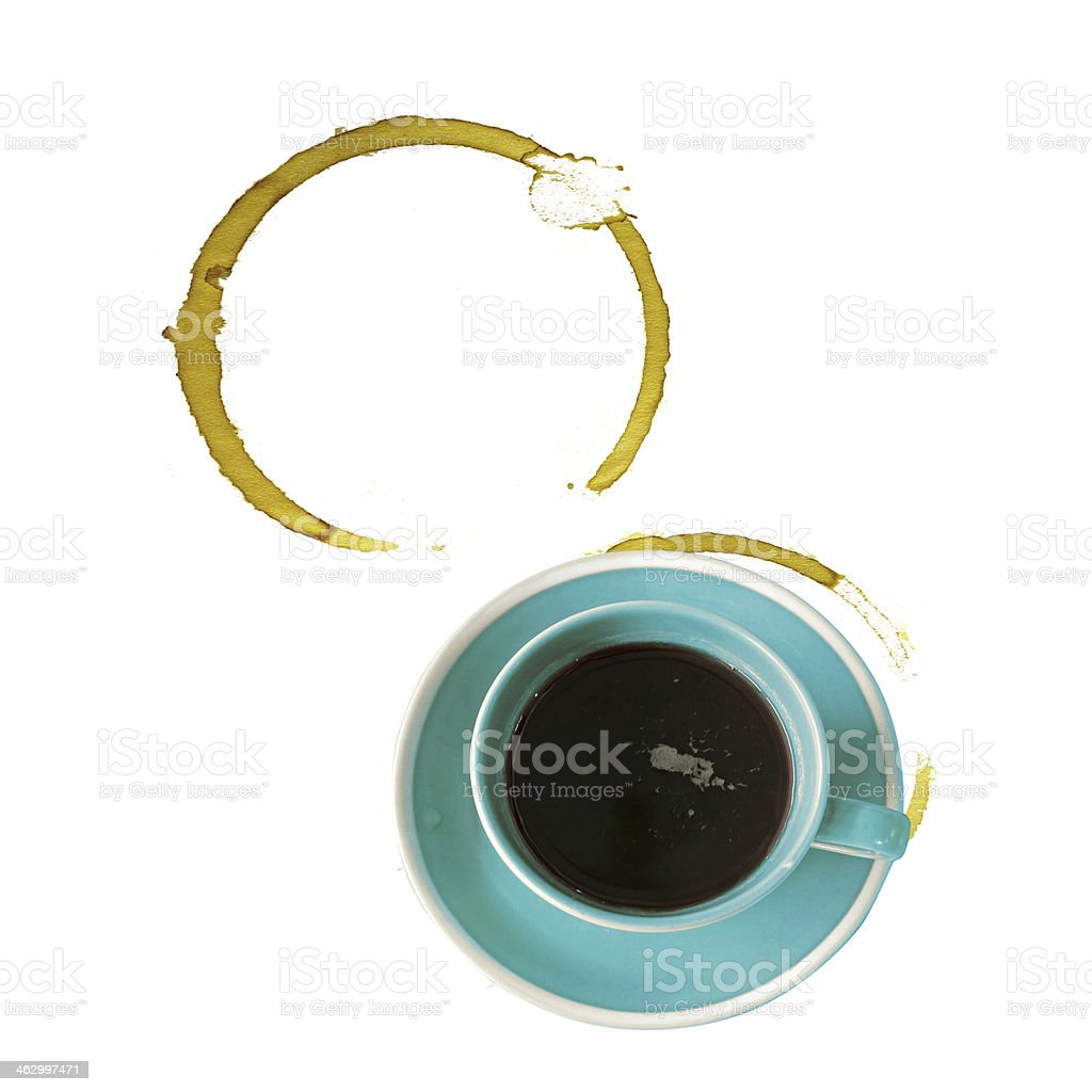 Coffee cup on white background. Dregs in bottom with stains. royalty-free stock photo