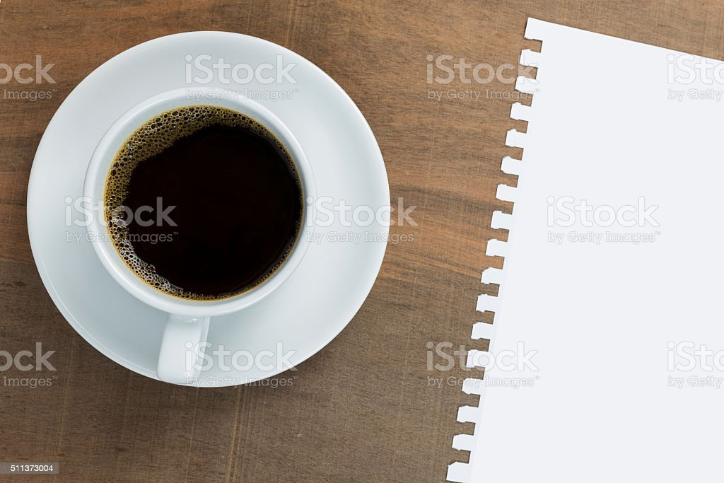 Coffee cup on wood background stock photo