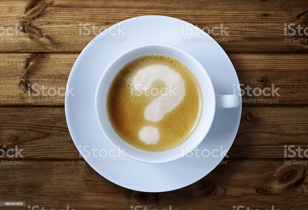 Coffee cup questions stock photo