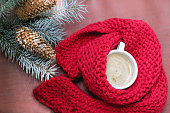 coffee cup red scarf