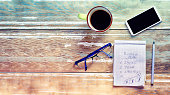Coffee cup, smartphone, glasses, pen and note pad