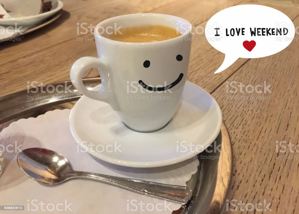 Coffee cup smile and say I love weekend stock photo