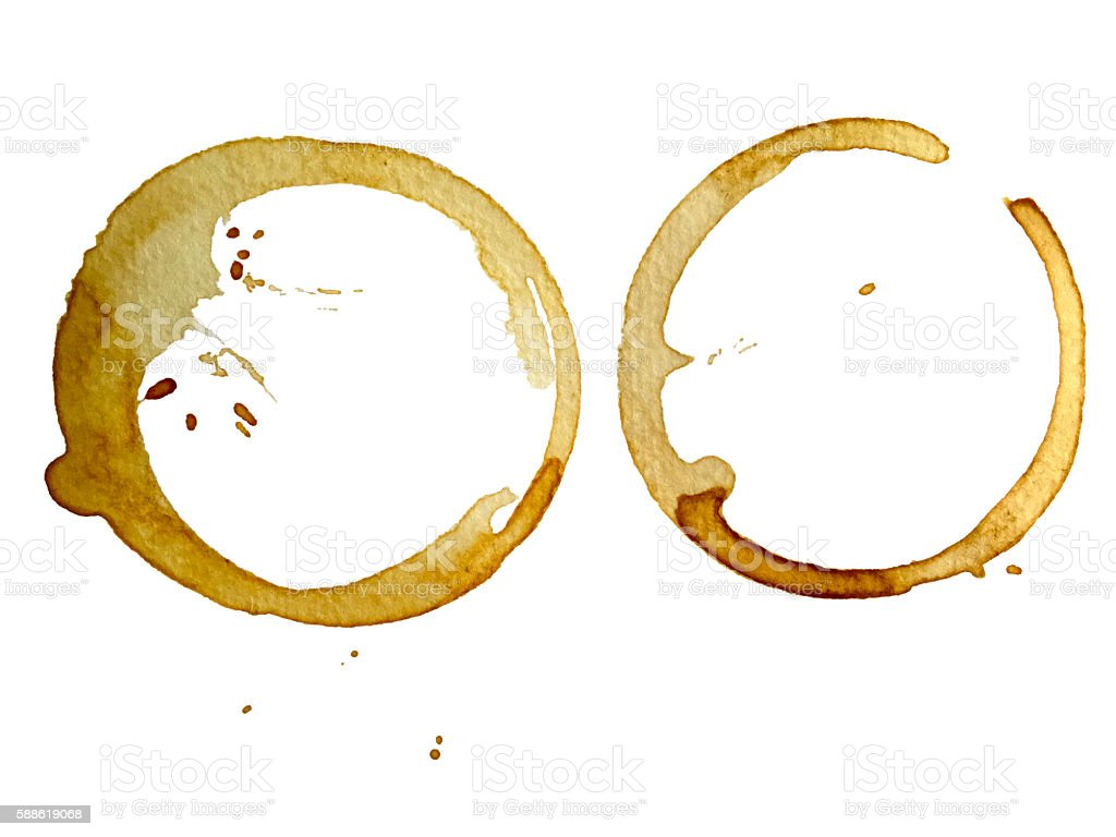 Coffee cup stain isolated on a white background stock photo