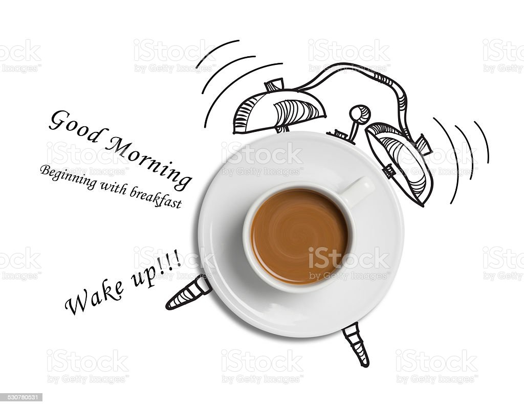 coffee cup time clock concept design background stock photo