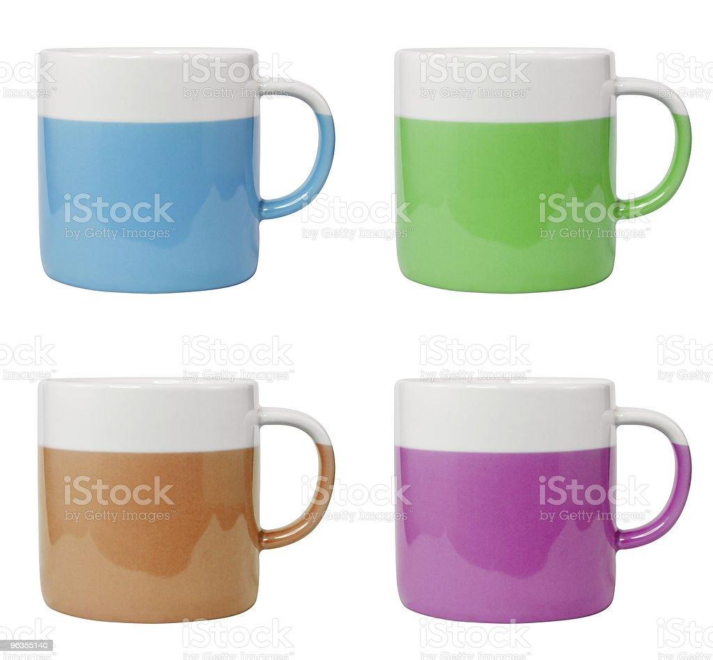 Taza de café con cuatro colores diferentes foto de stock libre de derechos