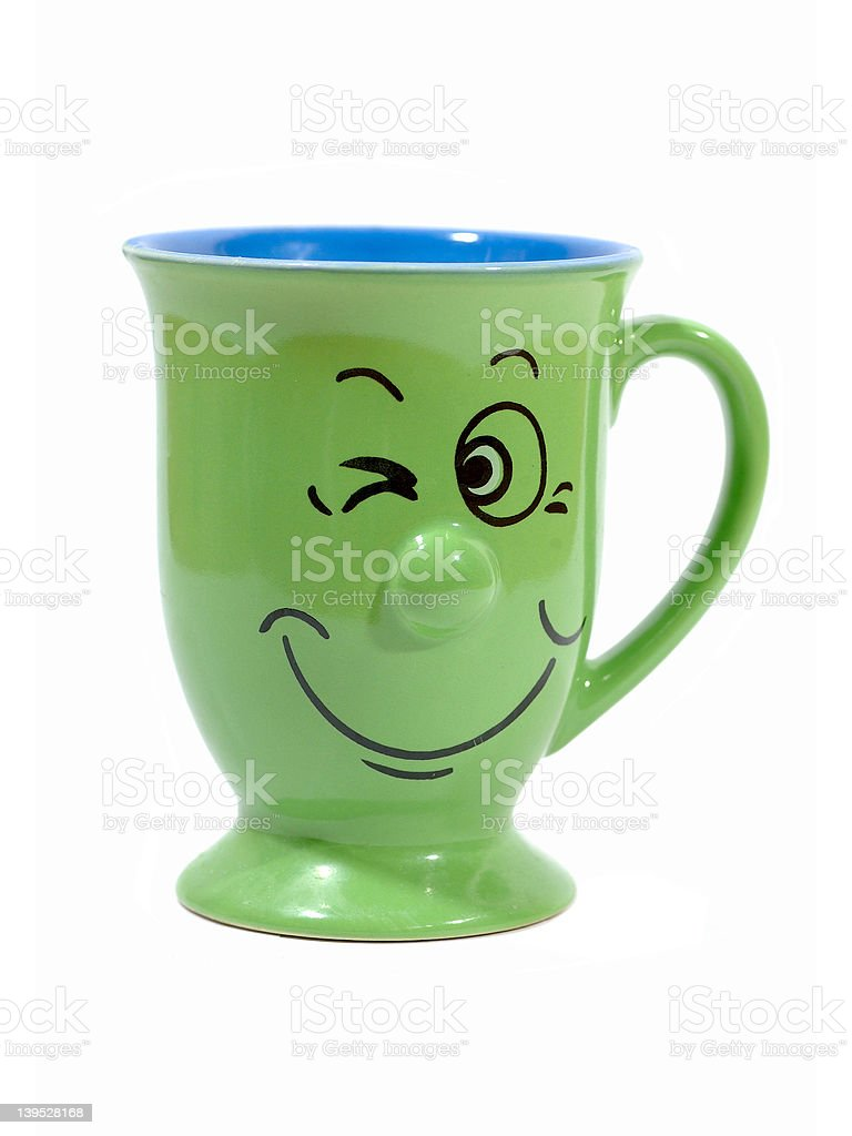 Coffee cup with a grin royalty-free stock photo
