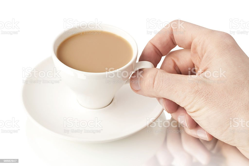Coffee cup with a hand stock photo