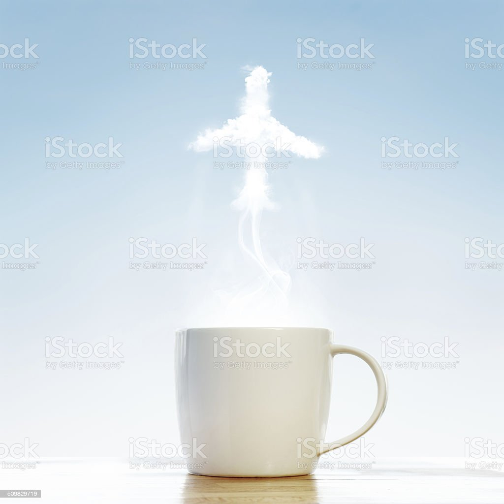 Coffee cup with Airplane symbol stock photo