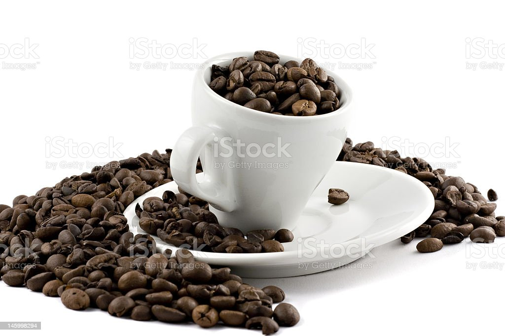 coffee cup with beans isolated on white royalty-free stock photo