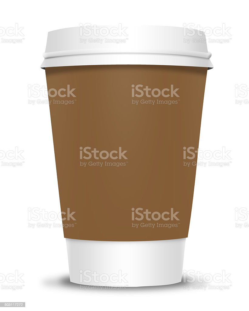 Coffee Cup with Brown Label stock photo