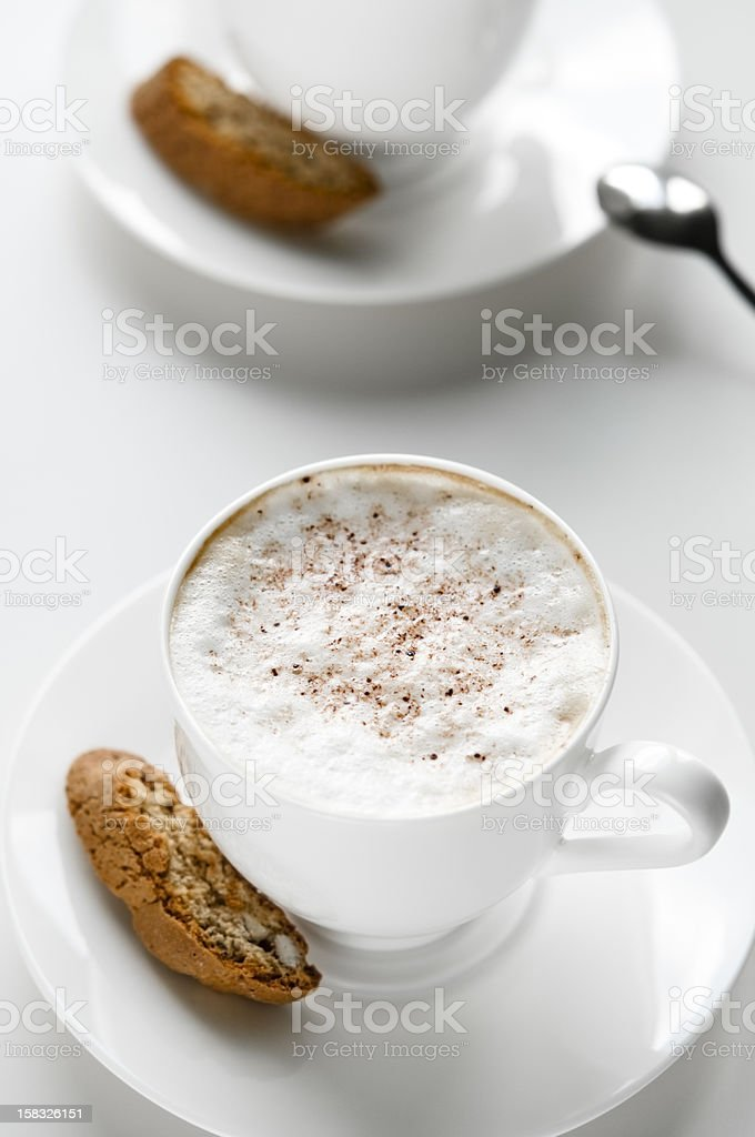 Coffee cup with cantuccini stock photo