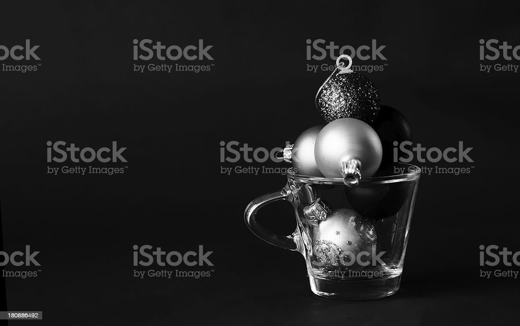Coffee cup with Christmas decorations on dark background royalty-free stock photo