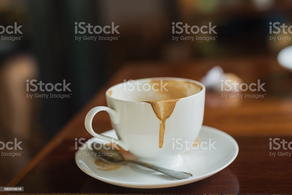 Coffee cup with coffee stains have not washed stock photo