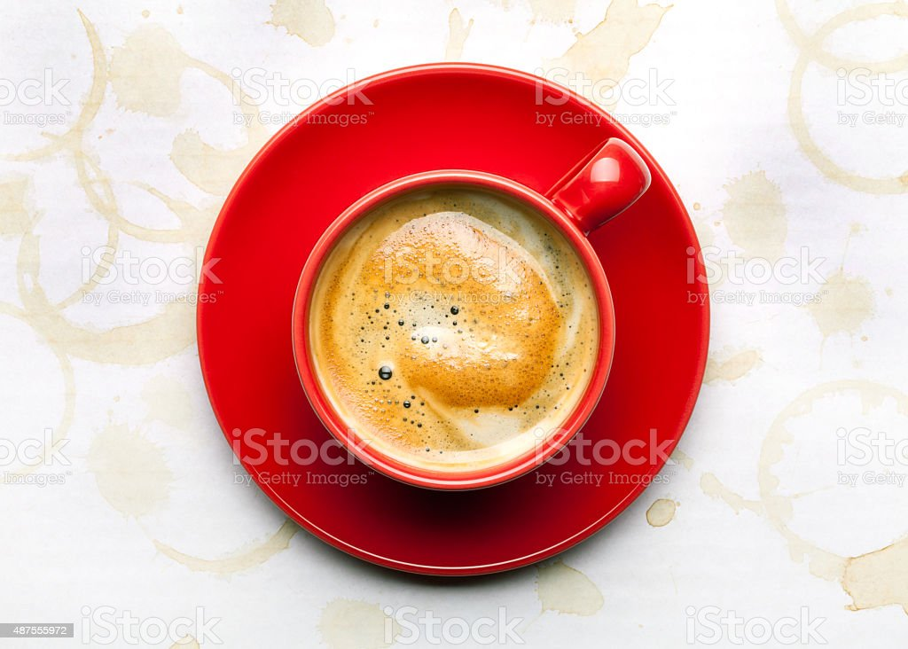 coffee cup with coffee stains stock photo