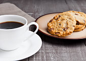 coffee cup with cookie for breakfast morning
