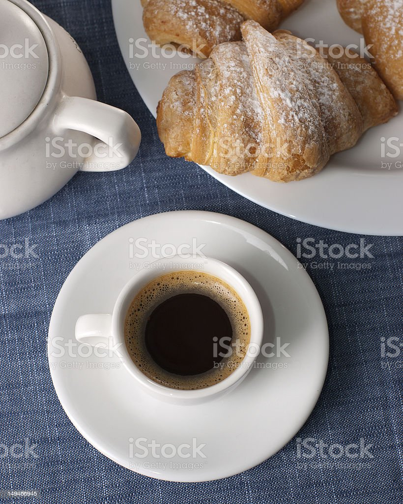 coffee cup with croissant royalty-free stock photo