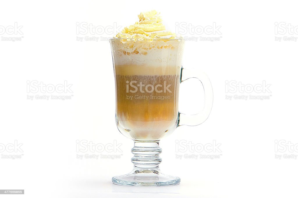 coffee cup with drink and foamed milk stock photo