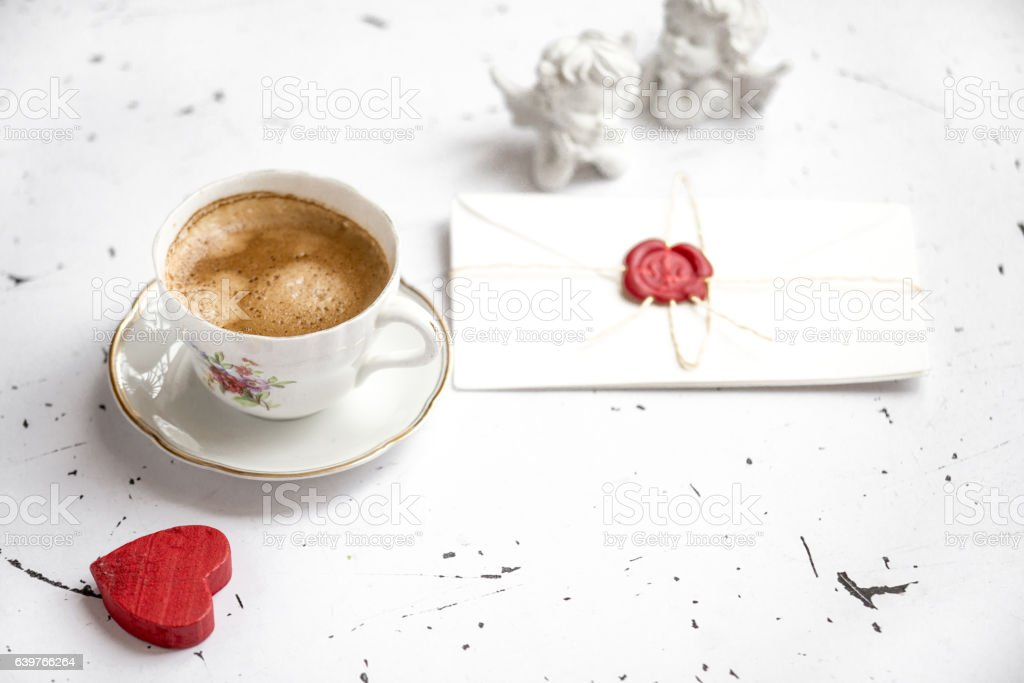 Coffee cup with heart, selective focus stock photo