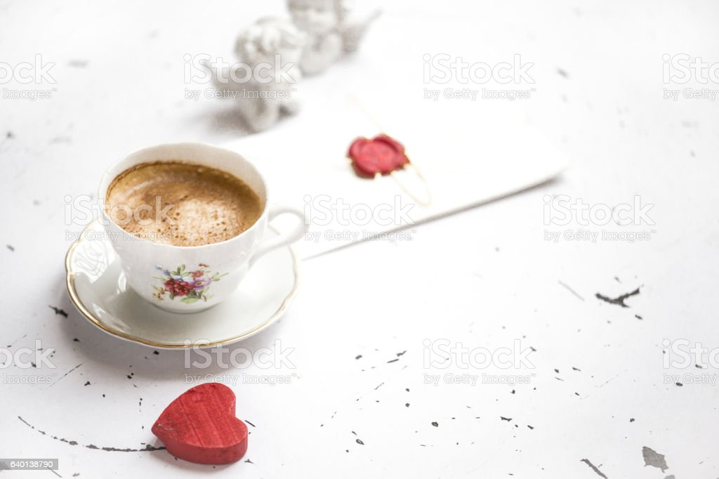 Coffee cup with heart, vintage style stock photo