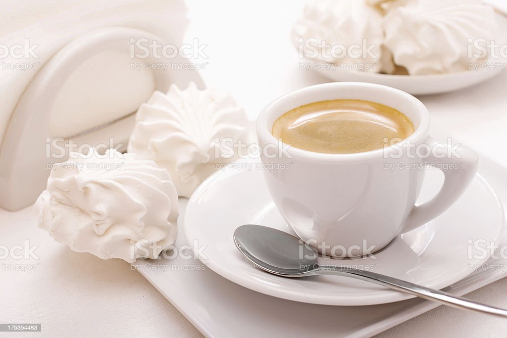 Coffee cup with marshmallow royalty-free stock photo