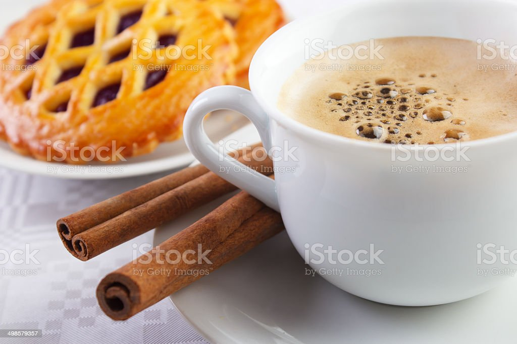 Coffee cup with pie royalty-free stock photo