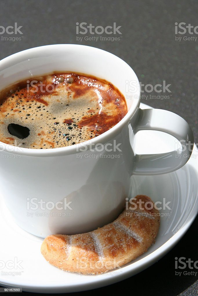 coffee cup with spoon and cookie royalty-free stock photo