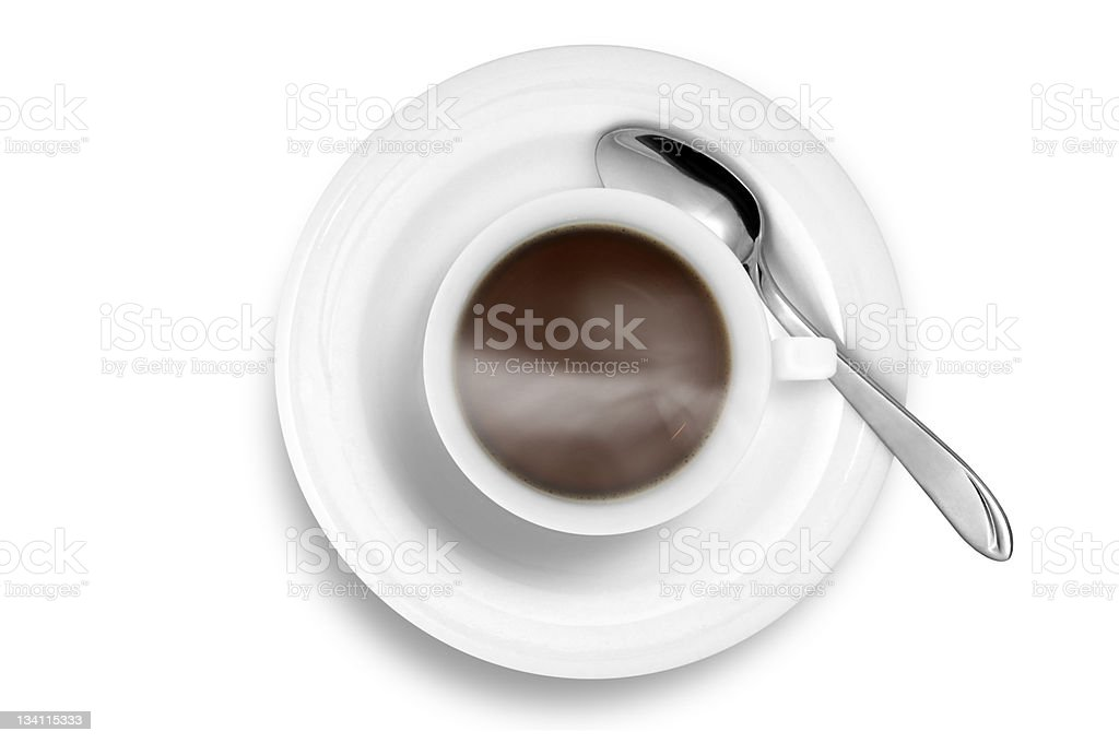 Coffee Cup with Spoon isolated on white royalty-free stock photo