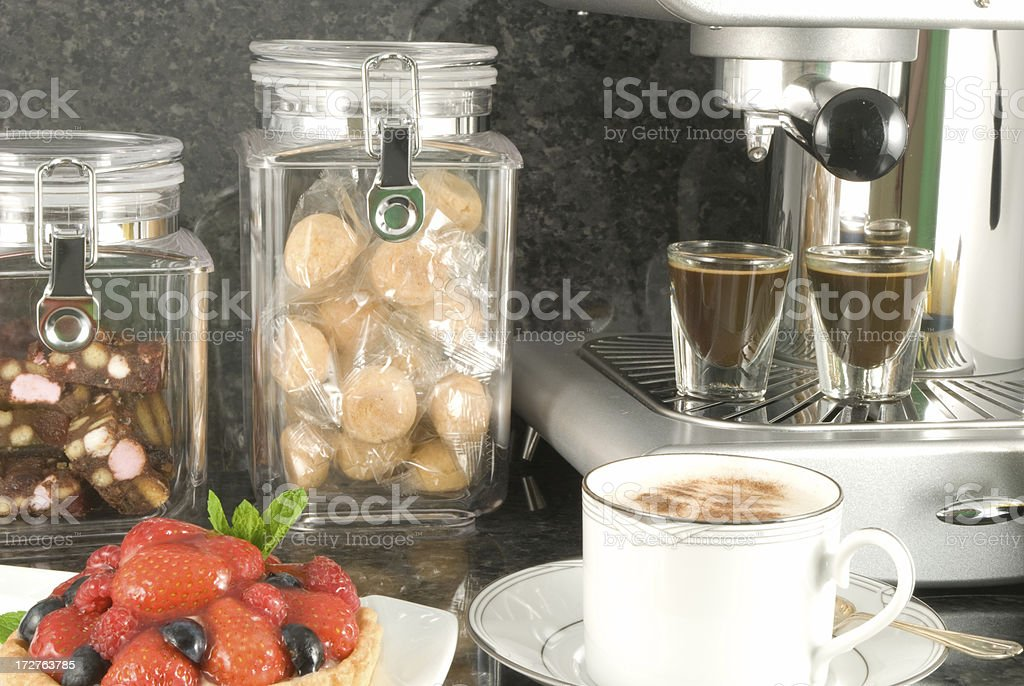 Coffee cup with strawberry tart royalty-free stock photo