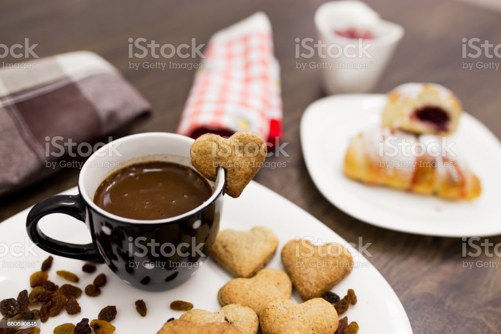Coffee cup with sweet cookies stock photo