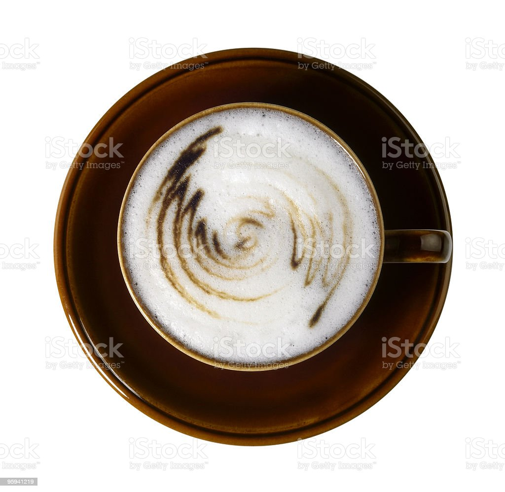 coffee cup with thin squirly milk froth royalty-free stock photo