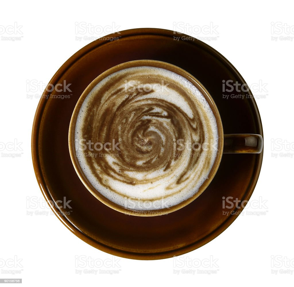 coffee cup with weird squirly milk froth stock photo