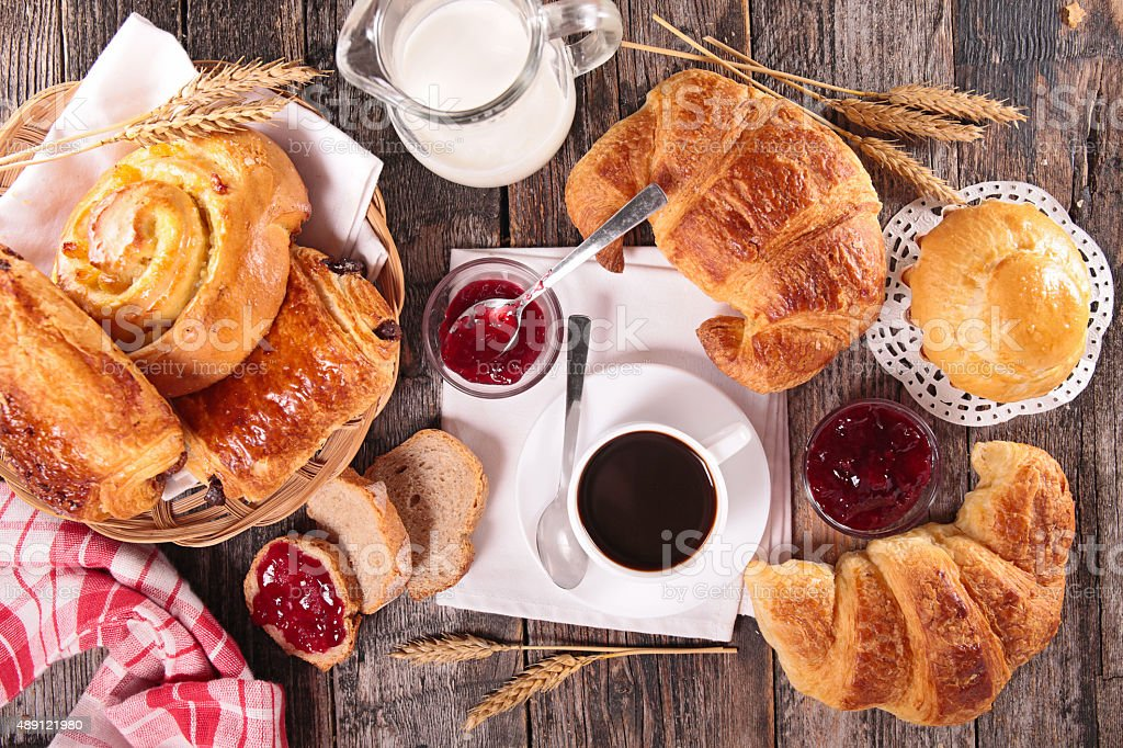 coffee cup,croissant and milk stock photo