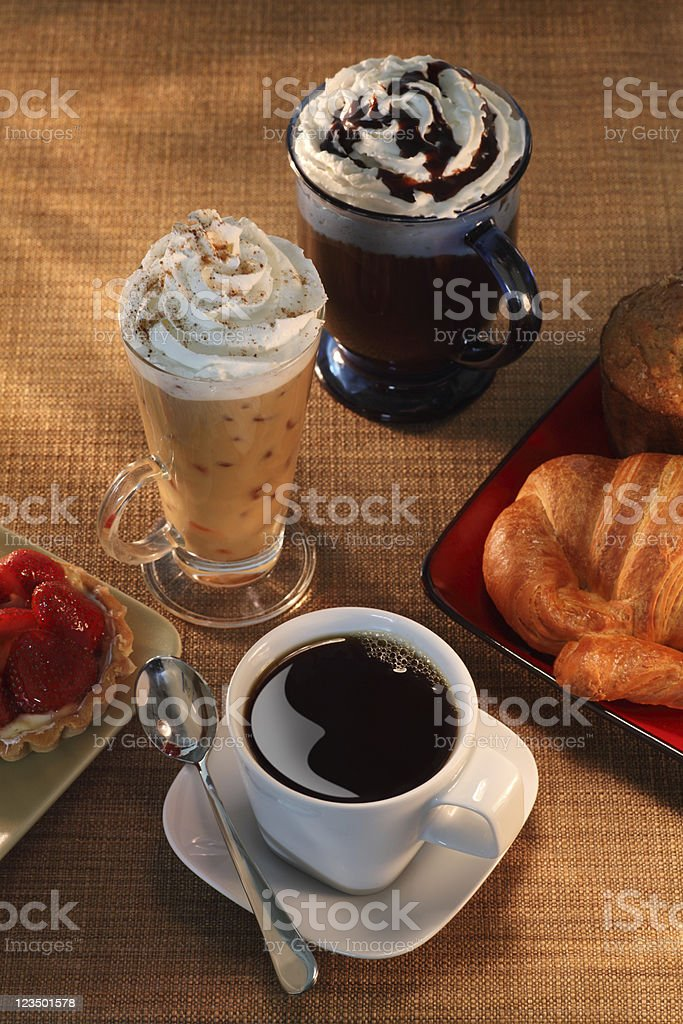 Coffee Cups and French Pastries royalty-free stock photo