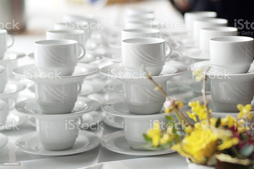 coffee cups & flowers royalty-free stock photo