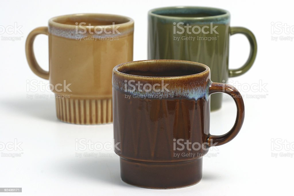 Coffee cups over white stock photo