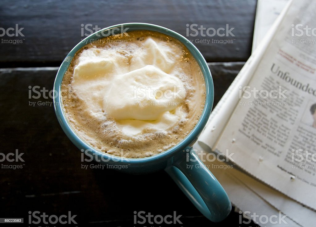 coffee drink and newspaper stock photo