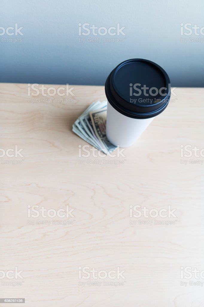 Coffee drink with cash stock photo