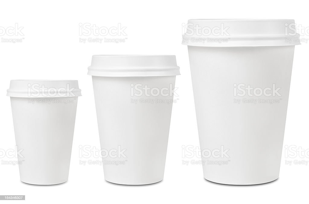 Coffee drinking cup sizes stock photo