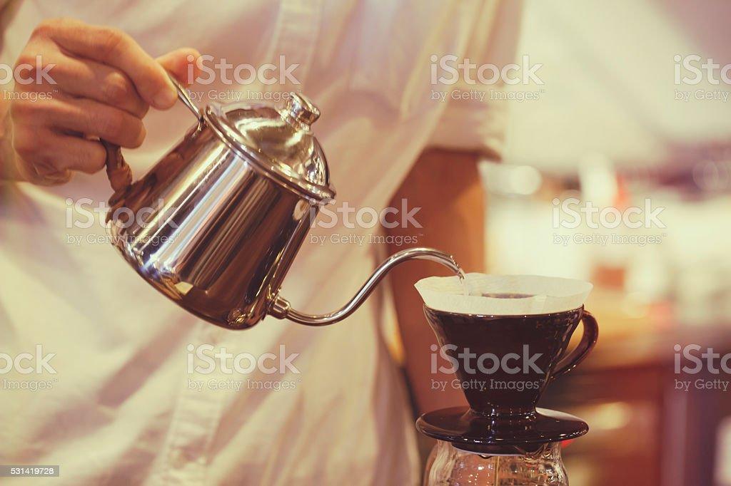 coffee dripping stock photo