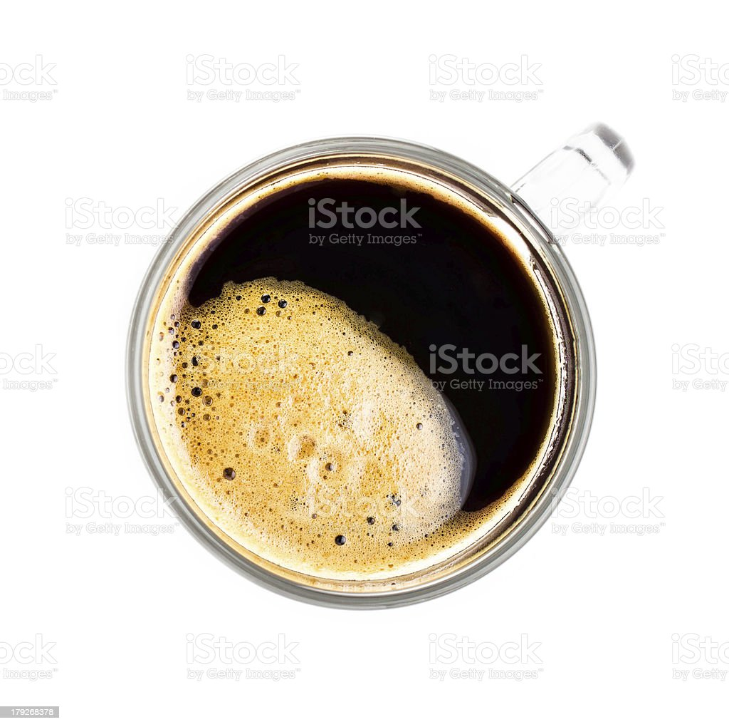 Coffee Espresso in  Glass cup with foam white background royalty-free stock photo