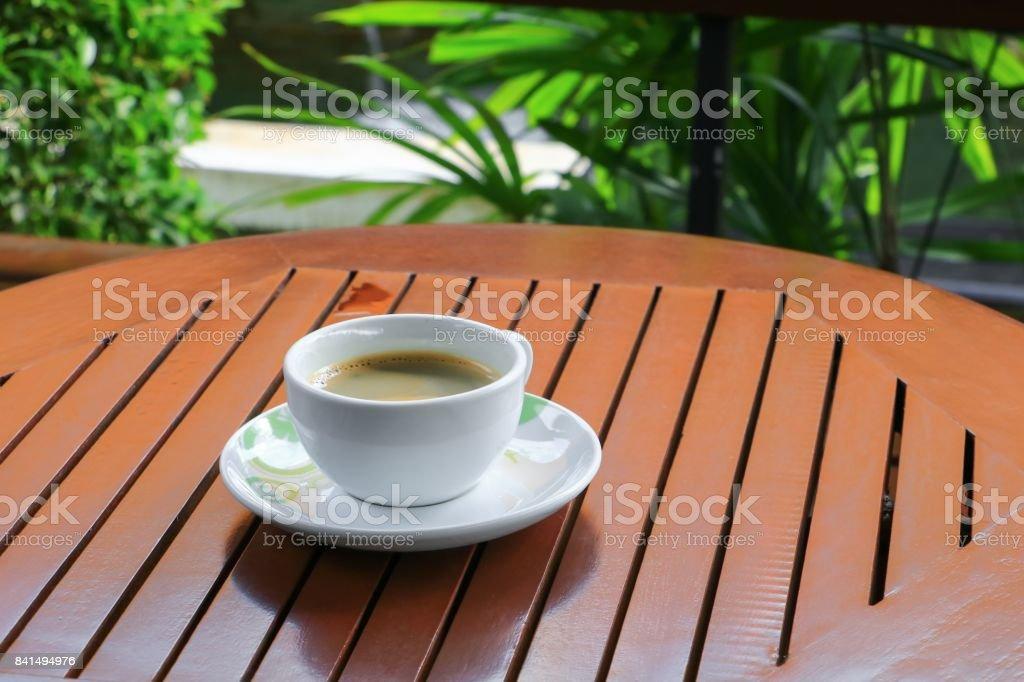 coffee espresso on the wood floor background stock photo