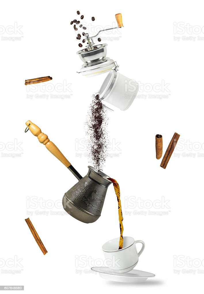 Coffee falling stock photo