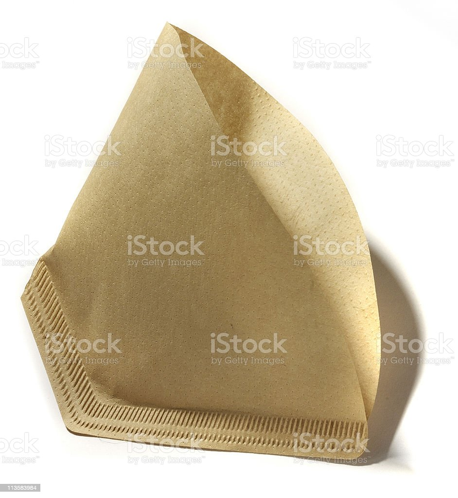 coffee filter cut out on white stock photo