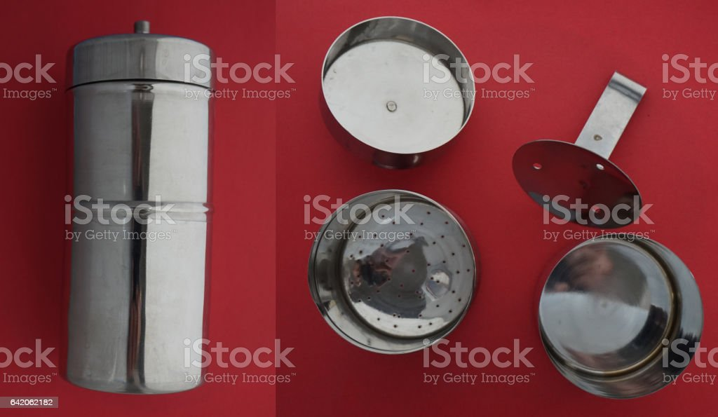 Coffee filter for South Indian coffee stock photo