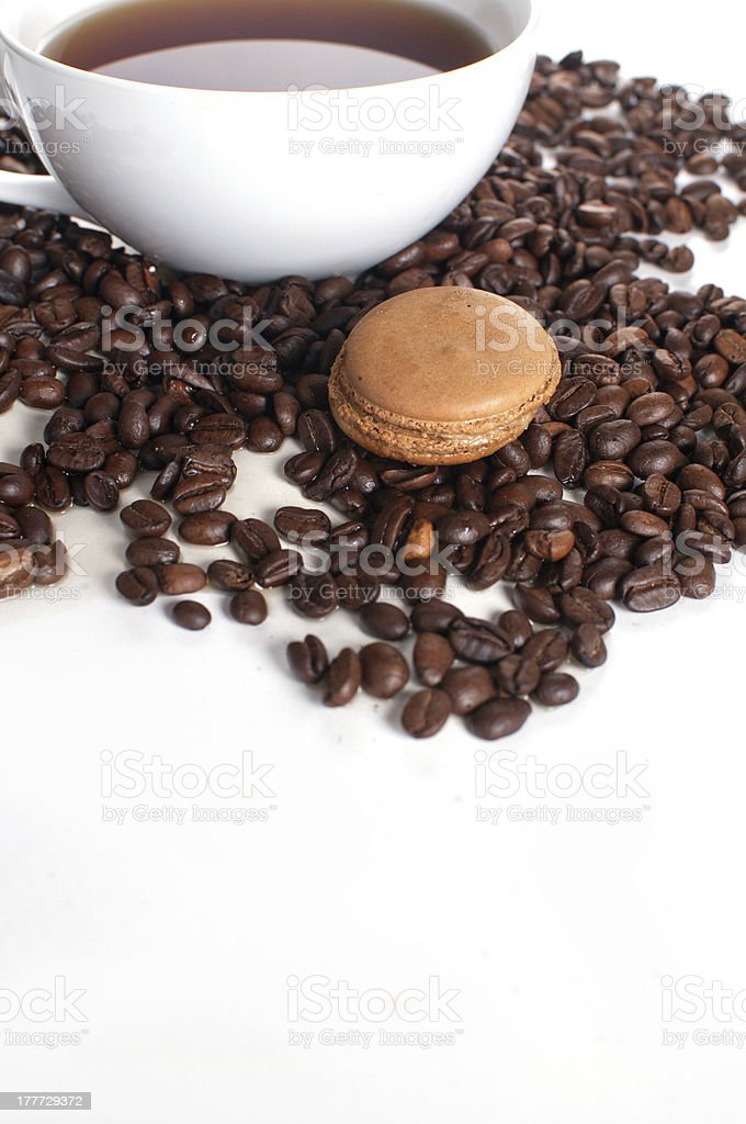 Coffee flavored macaroon cookie stock photo
