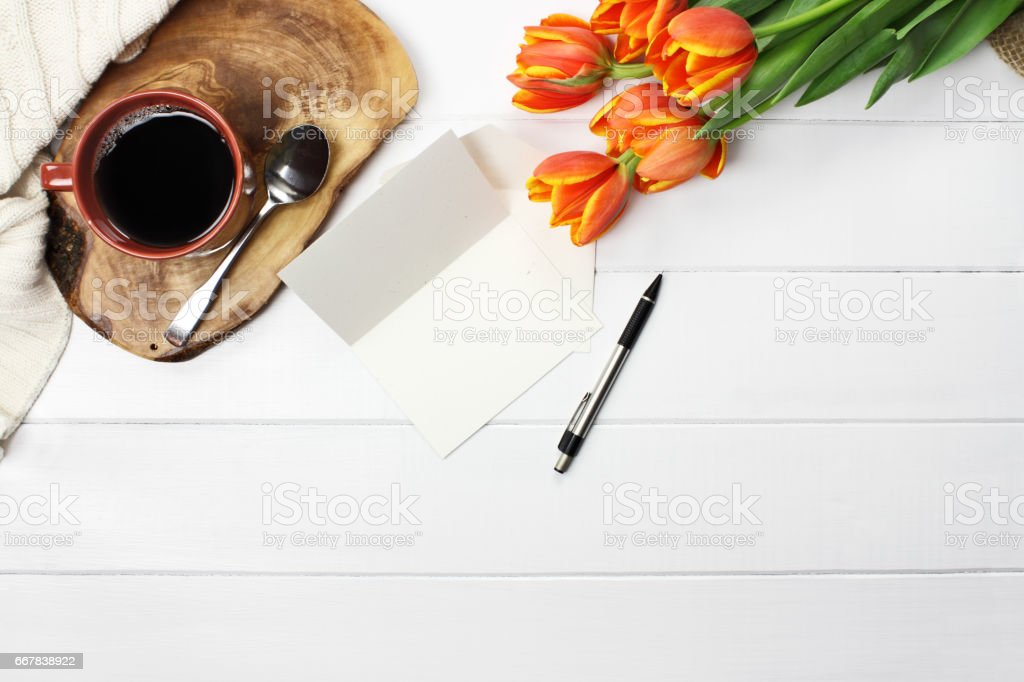 Coffee Flowers and Blank Card stock photo