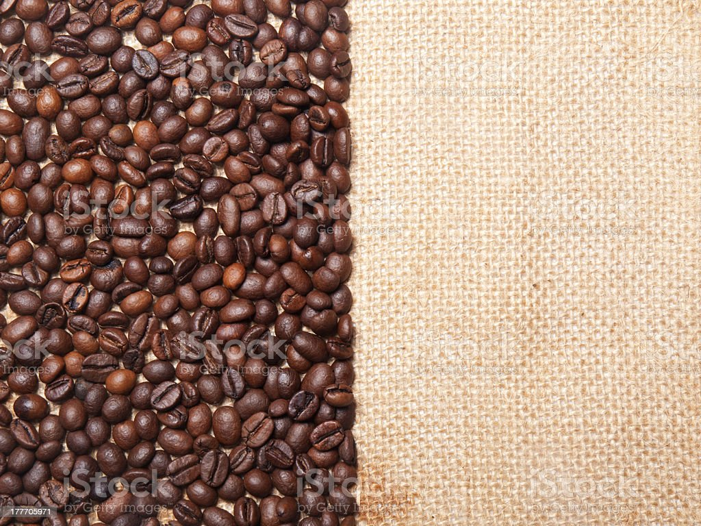 coffee frame on burlap background royalty-free stock photo